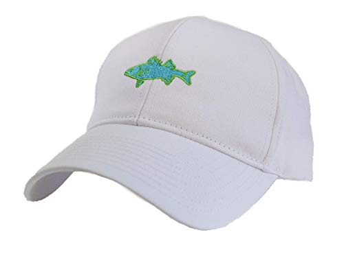 (Saltwater Long Island Salty Classic Hat with Embroidered Striped Bass Fish Logo)