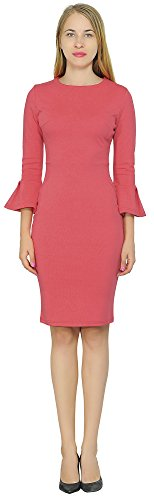(Marycrafts Womens Flounce Bell Sleeve Pencil Cocktail Party Dress 12 Desire Red)