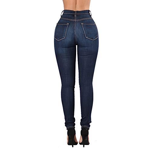 Taille Femme Extensible pour MISSKERVINFENDRIYUN Skinny Jeans Blue Amincissants Haute et 1 003 qzwOxF