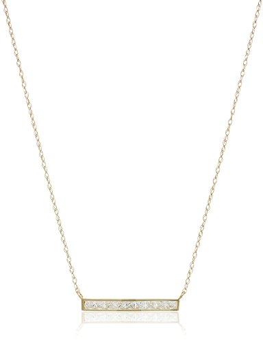 10k Gold AAA Cubic Zirconia Bar Pendant Necklace, 18