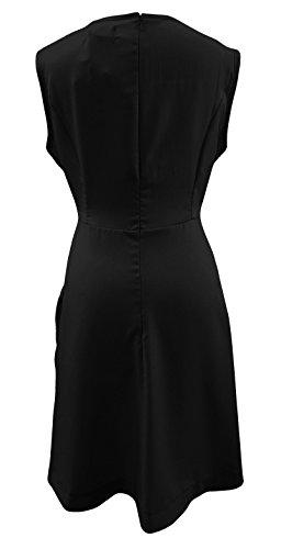 Negro y Rojo Diseño de patinador bolsillo corto sin mangas delantal largo vestido túnica Top Tamaño 16–�?6 negro