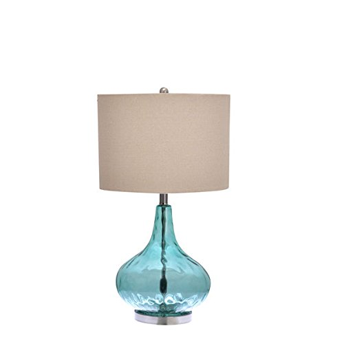 Catalina Blue Glass 3-Way Gourd Table Lamp by Catalina