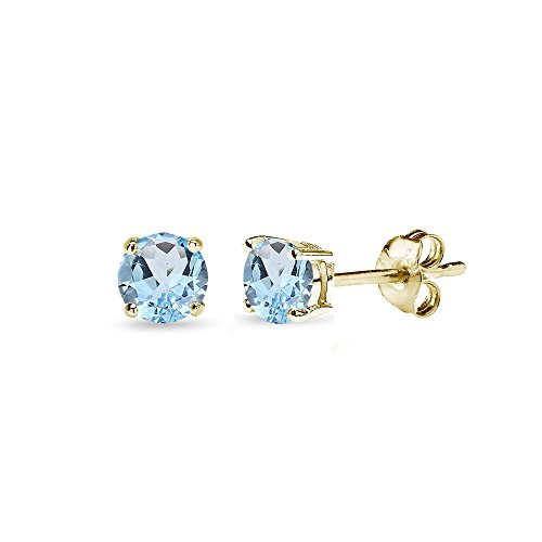 Yellow Gold Flashed Sterling Silver Blue Topaz 4mm Round-Cut Solitaire Stud Earrings