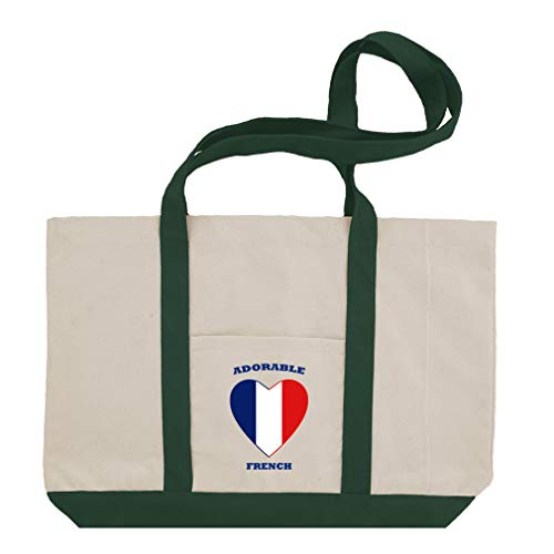 (Adorable French Heart Cotton Canvas Boat Tote Bag Tote - Green)