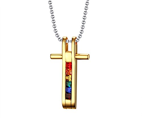 Unisex Stainless Steel Gay Pride LGBT Lesbian Rainbow Cross Pendant Necklace,Gold Plated by PJ Jewelry