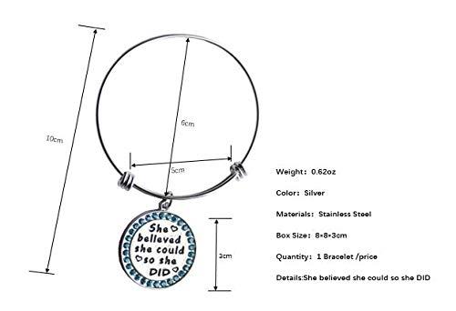 IGOOS 1 Pair Silver Plated Stainless Steel Metal Engraved Motivational Round Charm Pendant Adjustable Bracelets Blue Rhinestones Inset