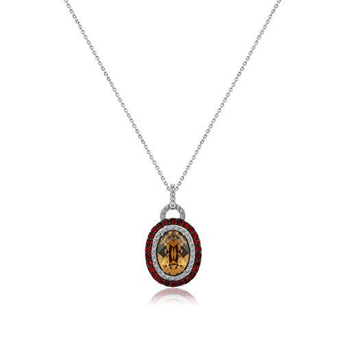 Heart Swarovski Solitaire Crystal - J'ADMIRE 7.3 carats Swarovski Crystal Oval Double Halo Smoked Topaz and Ruby Pendant, Platinum Plated Sterling Silver,18