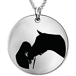 DLC Novelties Equestrian Gifts for Women, Teens, Girls, Rodeo - A Girl and her Horse Laser Engraved Necklace for Horse Lovers, Owners and Horseback Riding Fans (Stainless Steel)