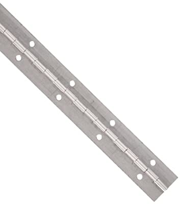 "Aluminum 3003 Continuous Hinge with Holes, Unfinished, 0.04"" Leaf Thickness, 1-1/4"" Open Width, 3/32"" Pin Diameter, 1/2"" Knuckle Length, 1' Long (Pack of 1)"