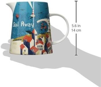 12 x 12 x 9 cm Porcelain Jill White Ahoy Large Jug Assorted