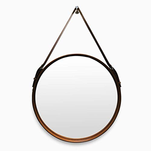 (Selm Makeup Mirror Belt Bathroom Wall-Mounted American Garden Decoration Hotel Restaurant Wall Art Hanging Mirror Beauty Mirror (Color : Dark Brown, Size : 70cm))