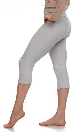 Lush Moda Extra Soft Capri Leggings - Variety of Colors - Khaki Yoga Waist, One Size