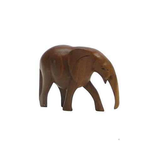 Hand Carved Wooden Elephant Made in Africa - Nautical - Carved Wooden Elephant