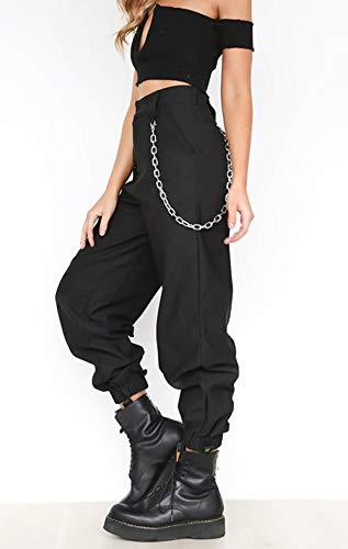 Donna Casual Sciolto Lungo Pantaloni con Catena Moda Sportivo Pants da  Workout Running Fitness  Amazon.it  Abbigliamento fb57c11343e6