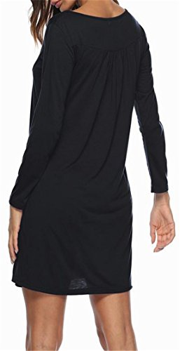 Button Dress Cromoncent Midi Sleeve Long Pleated Crewneck Women's Black Swing Loose wRz7XR