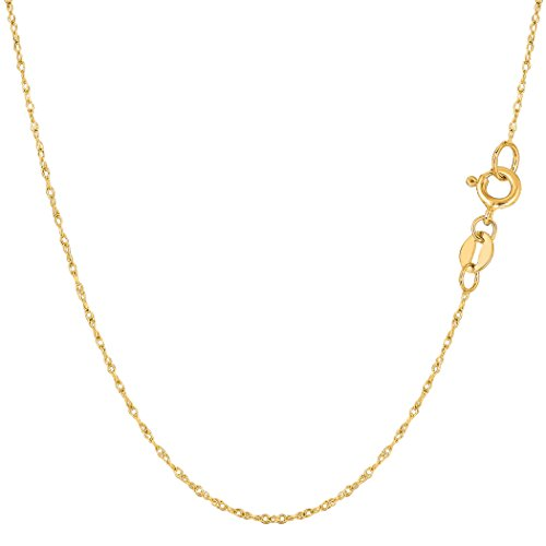 10k Yellow Gold Rope Chain Necklace, 0.6mm, (10k Yellow Gold Rope Chain)