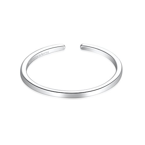 SILBERTALE 1.2mm Minimalist Plain Sterling Silver Stackable Open Finger Ring Bands Adjustable for Women Men Size 5.5-7.5