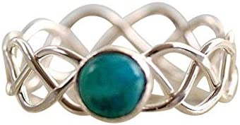 指輪 レディース 人気 華奢 女性 アンティーク天然ターコイズ 結婚指輪 バレンタインデープレゼント 記念日誕生日祝い日(グリー