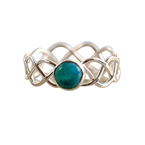 HUAMING Womens Ring Natural Turquoise Twist Ring Antique Gemstone Vine Ring Engagement Wedding Bands Ring Woman Fashion Rings (Sliver, ()