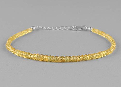 (Sapphire Bracelet Jewelry Gift For Her Mom, Sapphire Jewelry, Yellow Sapphire Bracelet, Anniversary Gift For Girlfriend, Christmas Gift, September Birthstone)