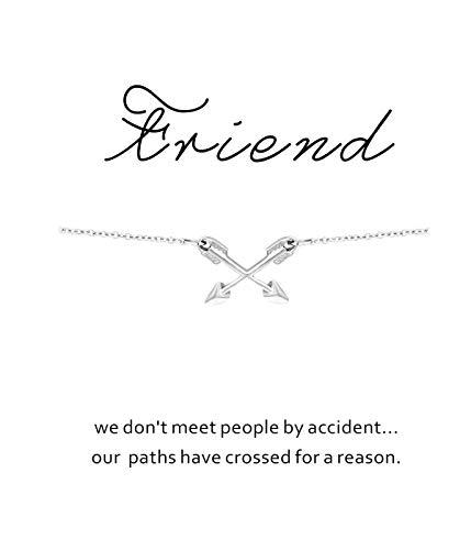 (Boosic Cross Arrow Pendant Wish Necklace Friend Message Card Chain Necklace For Women)
