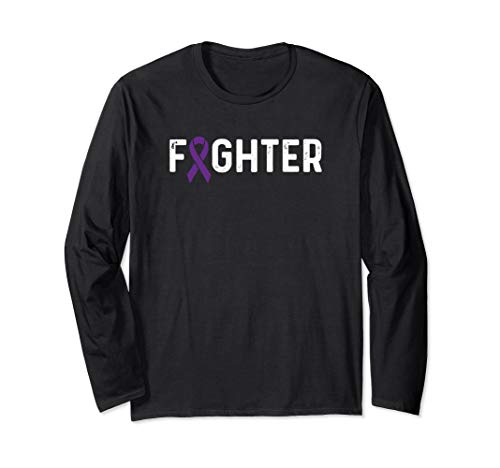 (Lupus Awareness Products Purple Ribbon Fighter Long Sleeve T-Shirt)