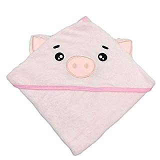 SWEET DOLPHIN Baby Hooded Bath Towel (Pig, 37.5×37.5 INCH)