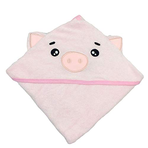 SWEET DOLPHIN Baby Hooded Bath Towel (Pig, 30×30 INCH)
