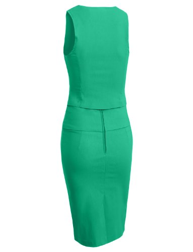 LE3NO Womens Fitted Vest and Skirt Suit Set