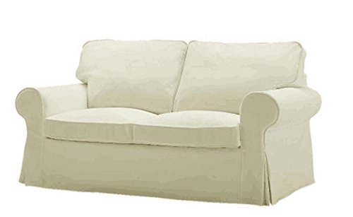 Ikea Ektorp Sofa (The Durable Heavy Cotton Ektorp Two Seater Sofa Bed Cover Replacement IS Custom Made For Ikea Ektorp 2 Seater Sleeper Only Slipcover (Beige)