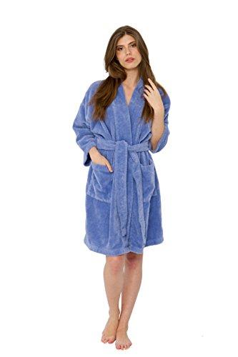 Bath & Robes Women's Chenille Short Robe Mid Length Soft Bathrobe L/XL Sky - Chenille Soft Robe