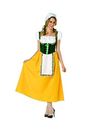 Milk Maiden - Green Peasant Lace - Up Dress, Cap. Petticoat Not Included (Green/White/Yellow;Small)
