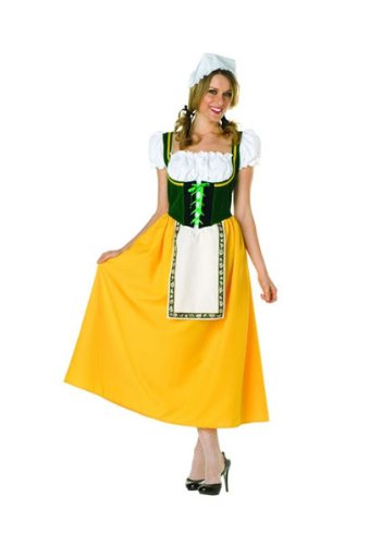 White Yellow Gingham (Milk Maiden - Green Peasant Lace - Up Dress, Cap. Petticoat Not Included (Green/White/Yellow;Small))