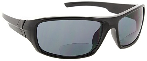Laguna Bifocal Wrap Around Reading Sunglasses | Sport Wrap Sun Readers Bifocals | Tinted Readers for Men and Women [Black, 1.50] (Tinted Readers Mens Bifocal)