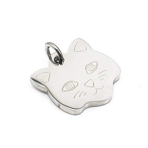 Steel Personalized Customization 2 in 1 Cat Shape Necklace Pendant Cute Animal Dog Tag for Men Women Engraved Key Chains Hanging Ornament (1pcs) ()