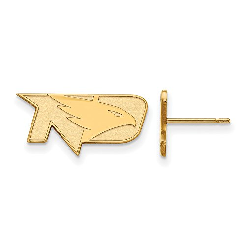10k Yellow Gold LogoArt Official Licensed Collegiate University of North Dakota (UND) XS Post Earrings by LogoArt