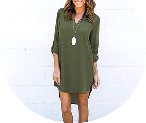 Women Dress Style Long Sleeve Dress V Neck Casual Brief Mini Chiffon Shirt Dresses Vestidos,Army Green,S