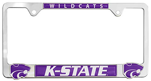 Premium All Metal NCAA Mascot License Plate Frame w/Dual 3D Logos (Kansas State)