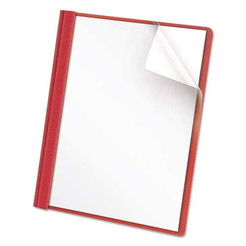 (Clear Front Report Cover, Tang Fasteners, Letter Size, Red, 25/Box, Sold as 25 Each)
