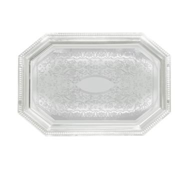 Winco CMT-1420 Octagonal Serving Tray, Chrome-Plated, Gadroon Edge W/ Engraving, 20 X 14-In -