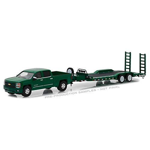2015 Chevrolet Silverado Pickup Truck with Heavy Duty Car Trailer Green Hitch & Tow Series 14 1/64 Diecast Models by Greenlight 32140 B ()