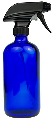 empty-blue-glass-spray-bottle-large-16-oz-refillable-container-for-essential-oils-cleaning-products-or-aromatherapy-black-trigger-sprayer-w-mist-and-stream-settings-2-pack