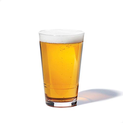 TOSSWARE RESERVE 16oz Pint SET OF 4, Tritan Dishwasher Safe & Heat Resistant Unbreakable Plastic Beer Glasses, Clear
