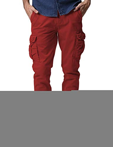 (Match Men's Regular Fit Chino Jogger Cargo Pant (30W x 31L, 6539 Red))