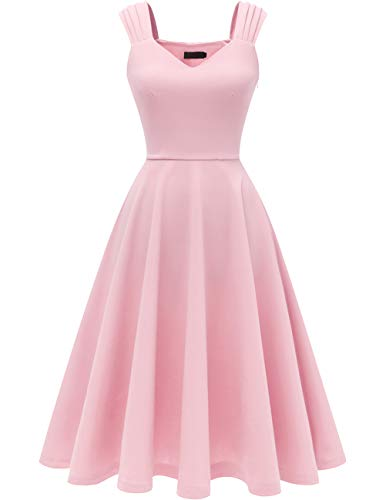Pink Tea Party Dress (DRESSTELLS Women's Bridesmaid Vintage Tea Dress V-Neck Homecoming Party Swing Cocktail Dress Pink)