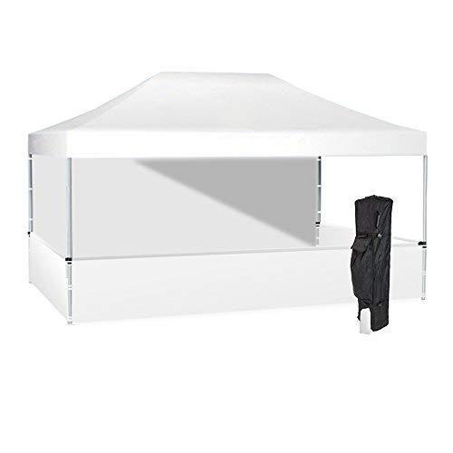 Frame 10ft Aluminum (Vispronet 10x15 White Canopy Tent Kit – Resists up to 30mph Wind Gusts – Includes Durable Aluminum 10ftx15ft Frame, Water-Resistant Top and 3 Halfwalls, Roller Bag, and Stake Kit)