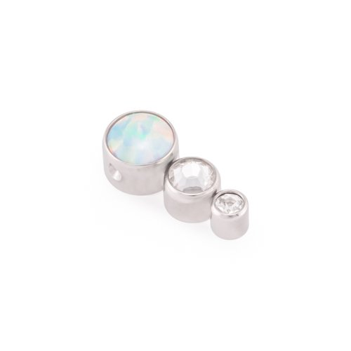 Painful Pleasures White Opal Tear Drop Cluster Captive Bead with Jewels - Price Per 1-Crystal