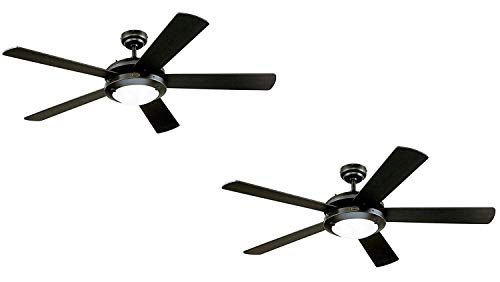 Westinghouse Comet 52-Inch Matte Black Indoor Ceiling Fan, Light Kit with Frosted Glass (Black 2 Pack) (Black 2 Pack)