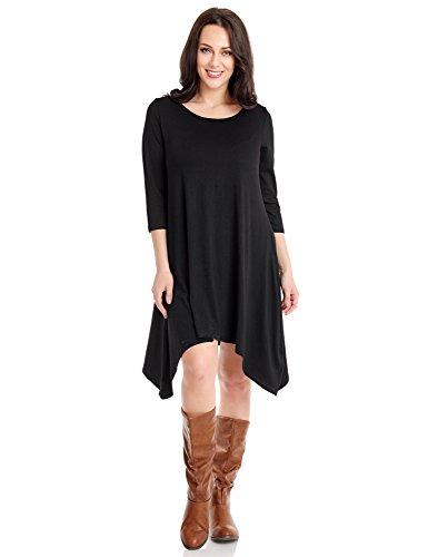 Buy black 3 4 sleeve shirt dress - 6