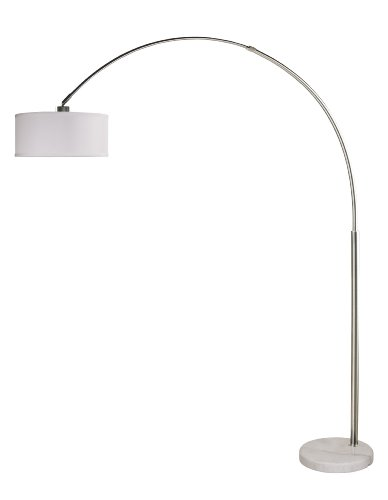 Arch Floor Lamp Stainless Steel Marble Base White Linen Shade Modern Contemporary (Arch Marble Floor Lamp)